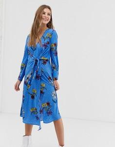 Синее асимметричное платье миди с цветочным принтом и запахом Influence - Синий