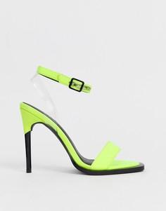 Салатовые босоножки на каблуке ASOS DESIGN Harris - Зеленый