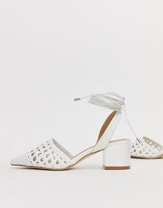 Белые туфли на каблуке с завязками RAID Olena - Белый