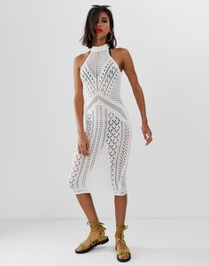 Вязаное платье миди ASOS DESIGN - Белый