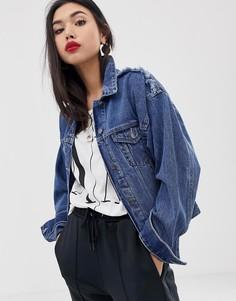 Джинсовая куртка с рваной отделкой Armani Exchange - Синий