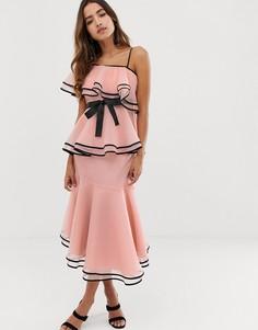 Розовое платье миди из органзы и контрастной отделкой Forever U - Розовый