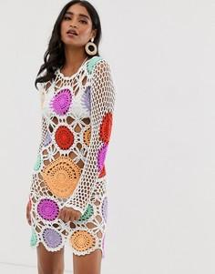 Ажурное платье с разноцветными вставками Missguided - Белый