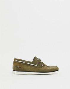 Замшевые мокасины оливкового цвета с контрастной шнуровкой Tommy Hilfiger - Зеленый