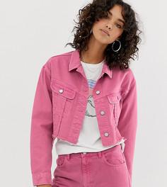 Выбеленная розовая укороченная джинсовая куртка с необработанным краем Reclaimed Vintage inspired - Розовый
