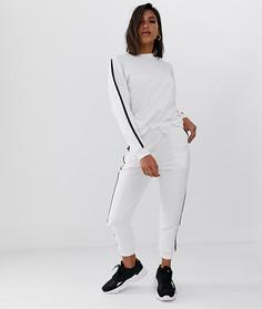 Спортивный костюм из свитшота и джоггеров с контрастными полосками ASOS DESIGN - Белый