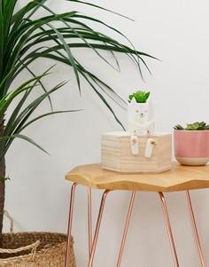 Горшок для цветов в виде кошки с искусственным растением Candlelight - Белый