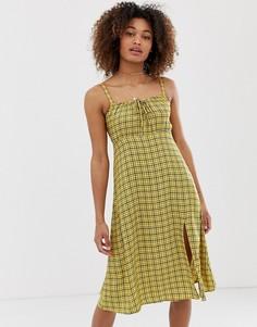 Платье миди в клетку Hollister babydoll - Желтый