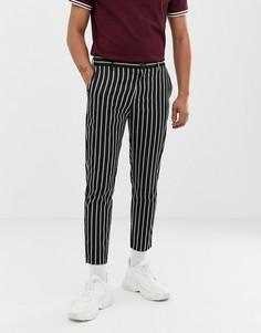 Черные облегающие брюки с полосками Bershka - Черный