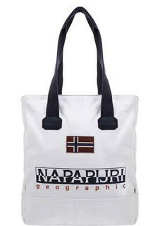 Белая хлопковая сумка с длинными ручками Napapijri