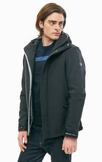 Черная куртка со скрытым капюшоном на липучках Armani Exchange