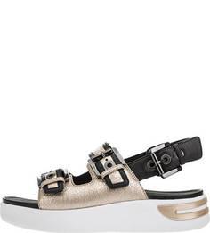 Золотистые кожаные сандалии с ремешками Geox
