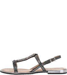 Серебристые кожаные сандалии с отделкой Geox