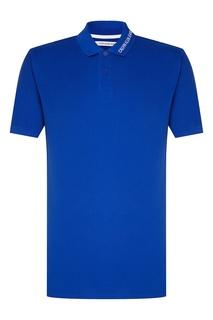 Синее поло с логотипом Calvin Klein