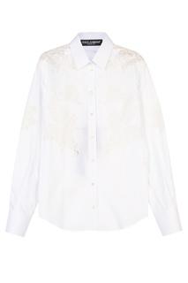 Рубашка с кружевными вставками Dolce & Gabbana