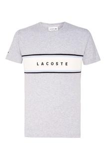 Серая футболка с логотипом Lacoste
