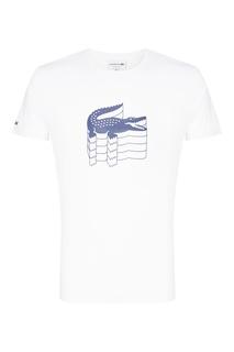 Белая футболка с принтом и нашивкой Lacoste
