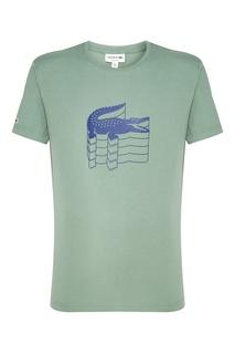 Зеленая футболка с крокодилом Lacoste