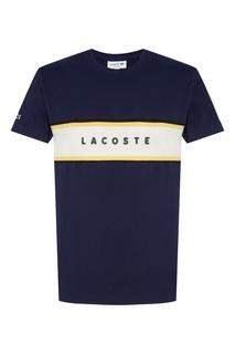 Синяя футболка с контрастной полосой Lacoste