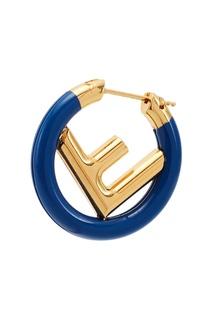 Золотисто-синие серьги F is Fendi