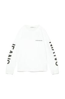 Белый лонгслив с контрастным логотипом Calvin Klein Jeans