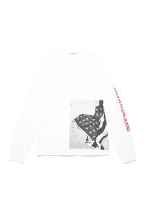 Белый лонгслив с принтом Calvin Klein Jeans