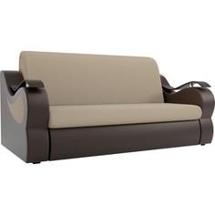 Прямой диван АртМебель Меркурий рогожка бежевый экокожа коричневый (100)