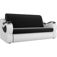 Прямой диван АртМебель Меркурий вельвет черный экокожа белый (100)