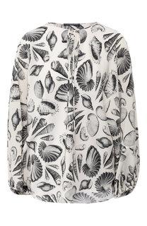Шелковая блузка с принтом Alexander McQueen