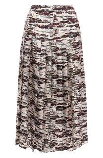 Шелковая юбка с принтом Victoria Beckham