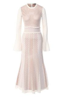 Платье из смеси хлопка и шелка Alexander McQueen