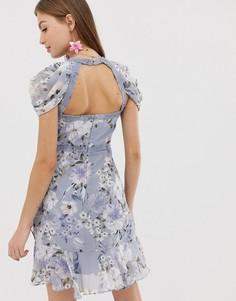 Платье мини с цветочным принтом и кружевной отделкой Forever New - Мульти