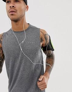 Серая меланжевая футболка без рукавов из быстросохнущего материала ASOS 4505 - Серый