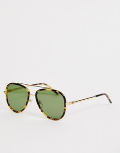 Солнцезащитные очки-авиаторы в черепаховой оправе Marc Jacobs - Золотой