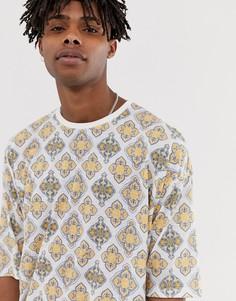 Oversize-футболка из ткани с добавлением льна со сплошным плиточным принтом ASOS DESIGN - Белый