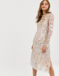 Свободное платье миди с отделкой пайетками Needle & Thread - Розовый