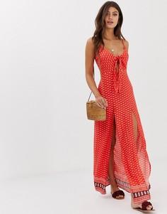 Пляжное платье макси с завязкой спереди и принтом Influence - Красный