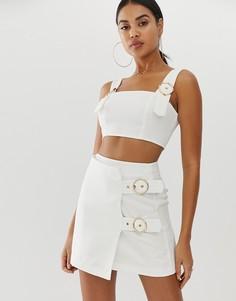 Белая мини-юбка с пряжками 4th + Reckless - Белый