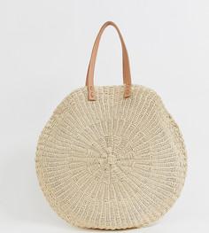 Большая соломенная пляжная сумка South Beach - Бежевый