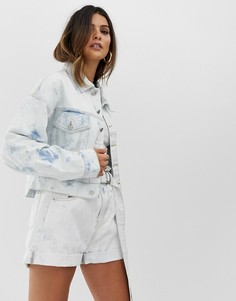 Комбинируемая укороченная джинсовая oversize-куртка с эффектом кислотной стирки Skylar Rose - Синий