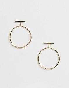 Серьги-кольца с планкой Nylon - Золотой