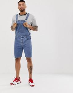 Выбеленный джинсовый комбинезон с шортами ASOS DESIGN - Синий