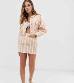Розовая джинсовая юбка от комплекта в полоску Missguided Petite - Розовый