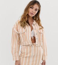 Джинсовая куртка в полоску Missguided Petite - Мульти