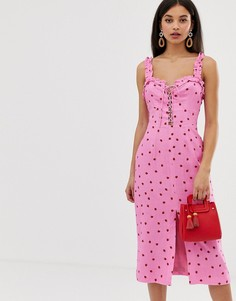 9b0794d131a Платье миди с принтом клубники Finders Keepers Lola - Розовый