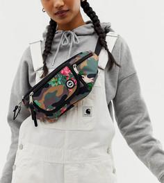 Камуфляжная сумка-кошелек на пояс с цветами Hype exclusive - Розовый