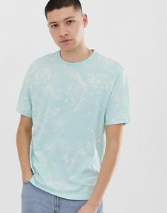 Голубая свободная футболка с выбеленным принтом тай-дай ASOS DESIGN - Зеленый