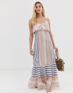 Пляжное платье макси в полоску America & Beyond - Мульти