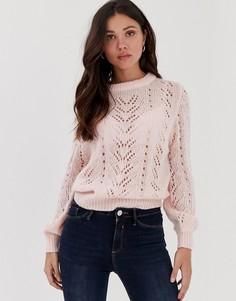 Ажурный джемпер пастельно-розового цвета с объемными рукавами Brave Soul - Розовый