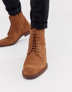 Светло-коричневые замшевые ботинки на шнуровке Zign - Рыжий